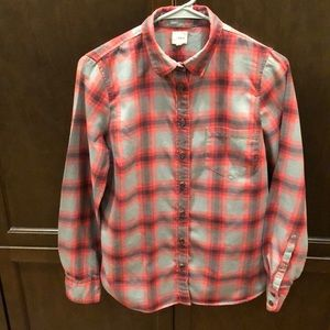Soft Cotton Grey/Red Plaid Shirt by J Crew - Small